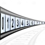 Numbers 0 to 8 in Film Reel