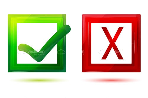 Green Tick and Red Cross Boxes
