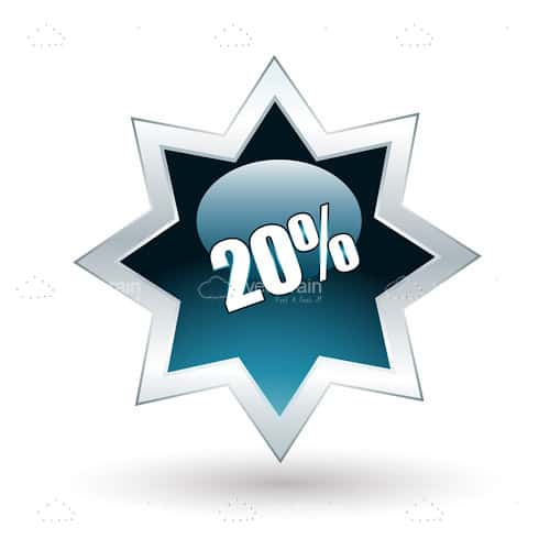 20% Star Shaped Tag
