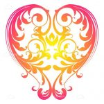 Colorful Heart with Floral Pattern