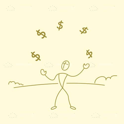 Man Juggling with Dollar Symbols in Sketch Style