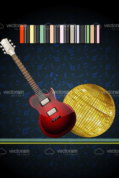 Music Theme Card with Electric Guitar and Disco Ball