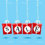 Sale Sign with Hanging Gift Boxes