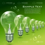 Lined Up Lightbulbs on Green Background with Sample Text
