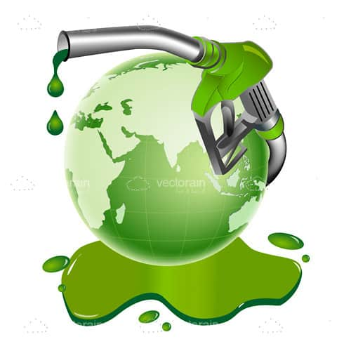 Green Globe with Leaking Gas Pump and Green Fuel Puddle