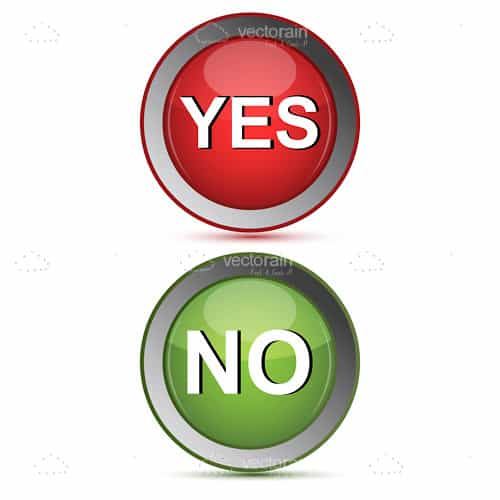Round Yes and No Buttons in Red and Green