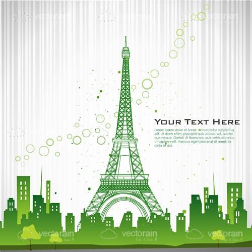 Abstract Cityscape with Eiffel Tower and Sample Text