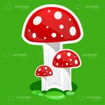 Trio of Cartoon Mushrooms on a Green Background