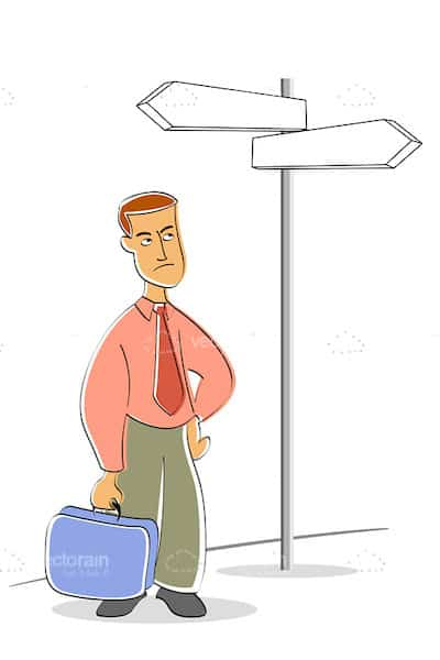 Business Man at Street Sign in Cartoon Style