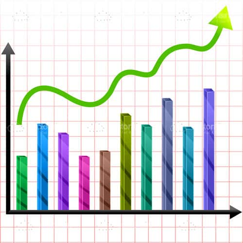 Colorful Growth Graphic with Bars and Arrow