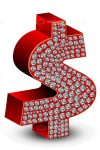 Red Dollar Symbol with Strass