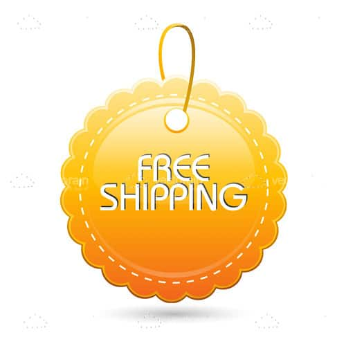 Free Shipping Tag in Yellow