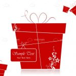Abstract Red Gift Box with Card and Sample Text
