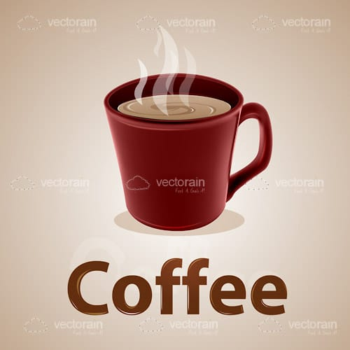 Red Coffee Mug on Brown Background