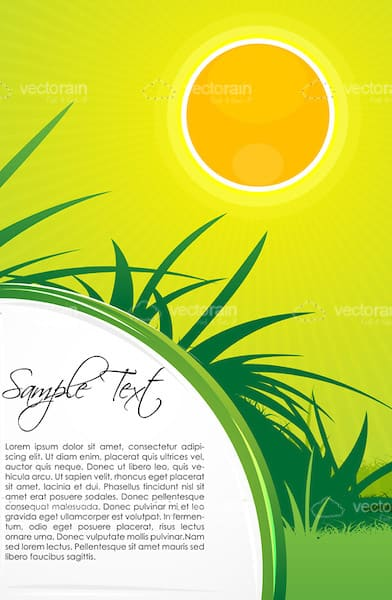 Natural Scene with Sun and Grass with Sample Text