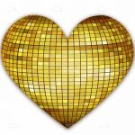 Golden Heart with Disco Ball Texture