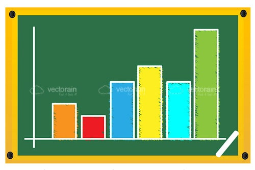 Colourful Sketched Growth Chart on Chalkboard