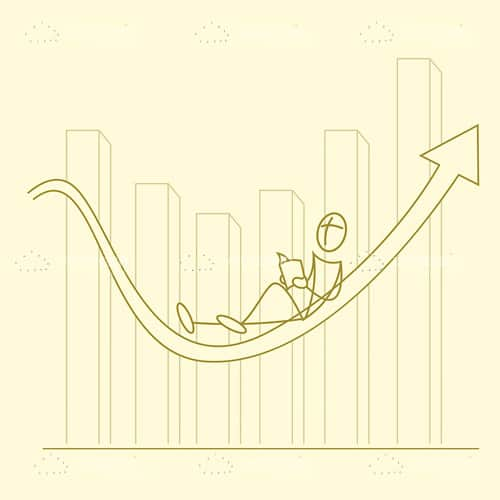 Growth Graphic with Abstract Man Reading Book in Sketch Style