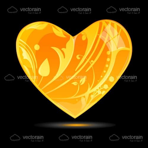 Golden Heart with Floral Pattern