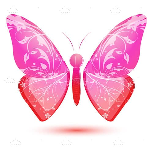 Floral Butterfly in Gradient Bright Colors