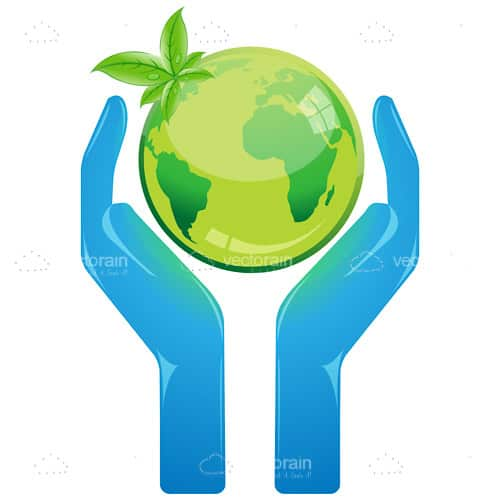 Green Globe Apple in Blue Cupped Hands