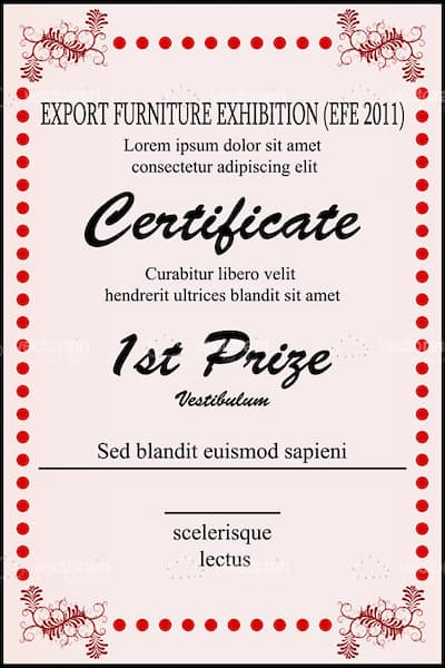 1st prize certificate template with sample text for First prize certificate template