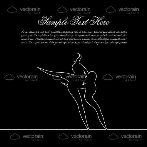 Silhouette Couple Dancing with Sample Text