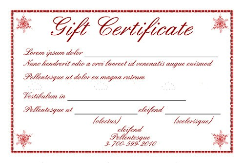 Gift Certificate Template with Sample Text