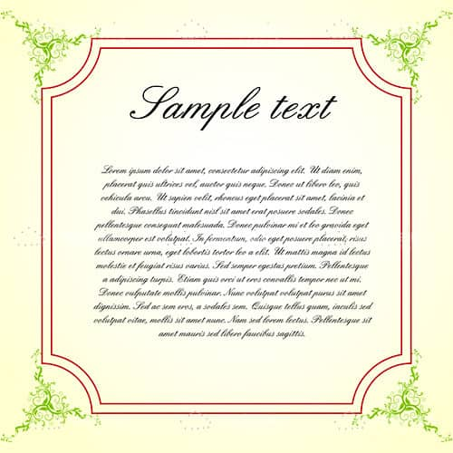 Elegant Frame with Greenery Ornaments and Sample Text