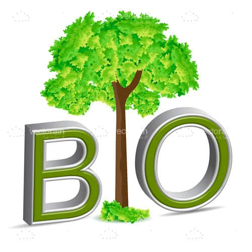 Bio Text with Green Tree