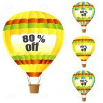 Hot Air Balloons with Discount Tags