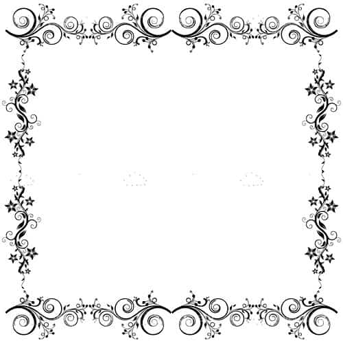 simple and elegant floral frame in black and white vectorjunky