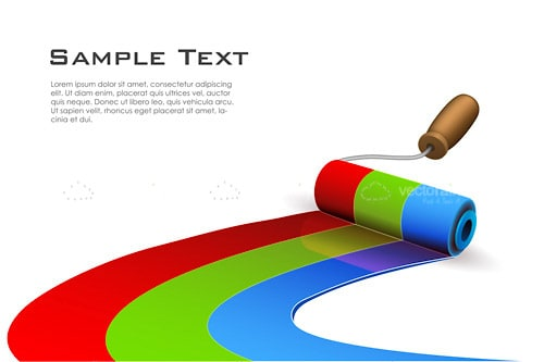 Colourful Painted Roller with Sample Text