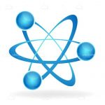 Abstract Atom Icon in Blue