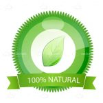 100% Natural Badge with Green Leaf