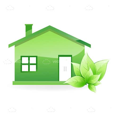 Green Home with Green Leaves