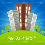 Outdoor Scene with Tall Buildings and Sample Text