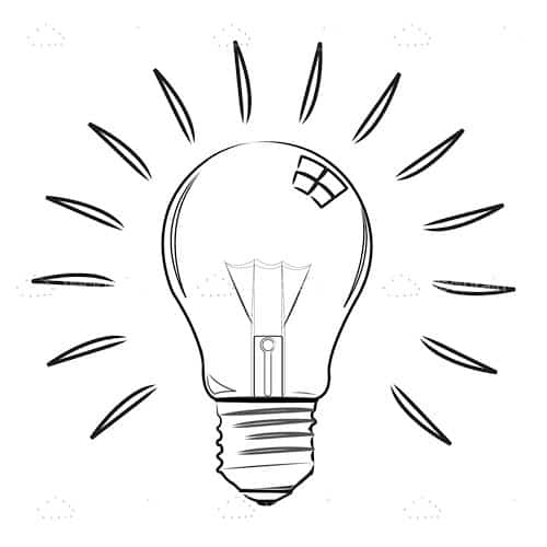 Abstract Lightbulb in Sketch Style