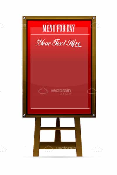Red Menu Board with Wooden Frame and Stand