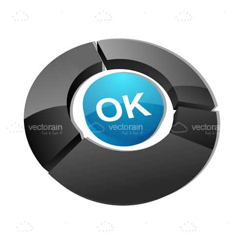 Blue OK Button with Black Surround