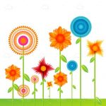 Colourful Flowers on Grass Background