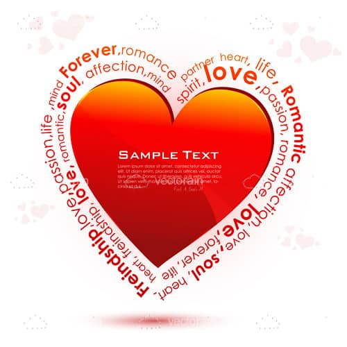 Red Heart with Romance Themed Sample Text