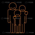 Abstract Family in Orange and Black