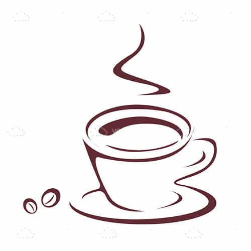 steaming coffee cup and beans icon vectorjunky free