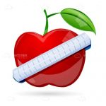 Illustrated Red Apple Being Measured by White Measuring Tape