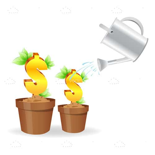 Dollar Signs in Flower Pots being Watered