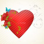 Florally Decorated Red Textured Heart with Floral Background