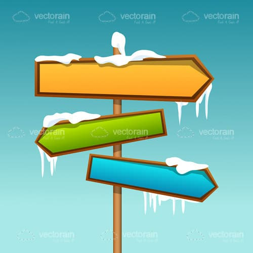 Colorful Directional Signs with Snow