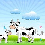 Happy Cow and Calf in a Green Field with Blue Skies