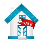 Blue and White Abstract Home Sale Sign